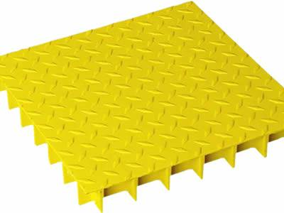 This is one fiberglass covered grating in yellow, the covered plate has decorative pattern.