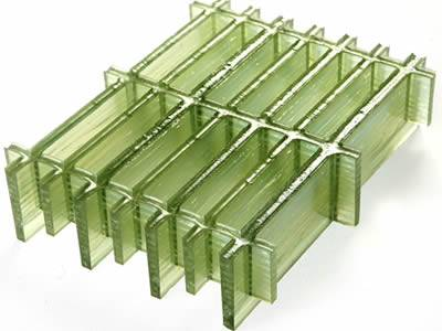 It shows one molded fiberglass grating with rectangular mesh, it has translucent green colour.