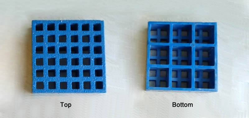 It shows the top and bottom profiles of one blue mini mesh grating with gritted surface.