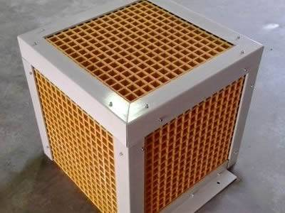It shows that one cage which is fabricated with yellow fiberglass grating.