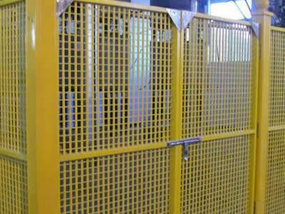 It shows that one yellow fiberglass grating fence is installed to protect the facility inside.