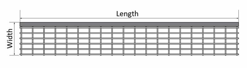 It Shows One Pultruded Stair Tread Panel Diagram, With The Two Parameters  Shown, Length